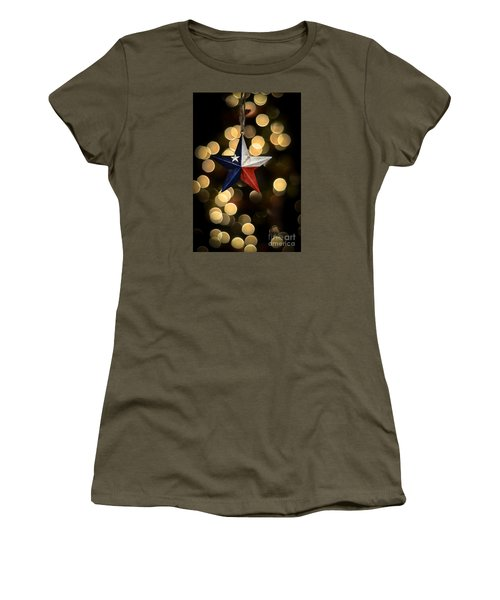 Women's T-Shirt (Junior Cut) featuring the photograph Merry Christmas Texas by Kelly Wade