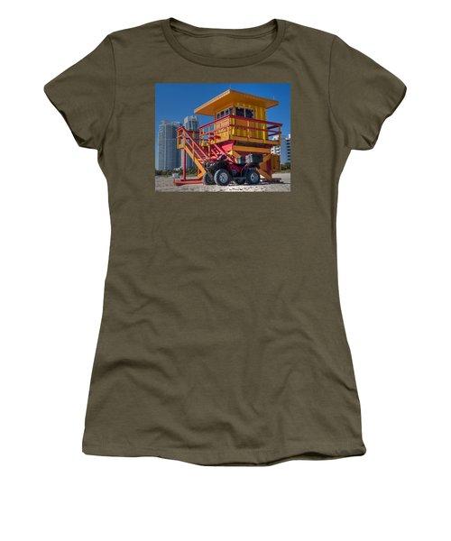 Miami Beach Lifeguard House Ocean Rescue Women's T-Shirt (Junior Cut) by Toby McGuire