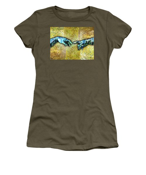 Women's T-Shirt (Junior Cut) featuring the mixed media Michelangelo's Creation Of Man by Tony Rubino