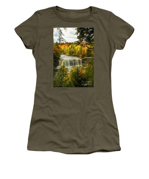 Michigan Waterfall Women's T-Shirt (Junior Cut) by Marilyn Carlyle Greiner