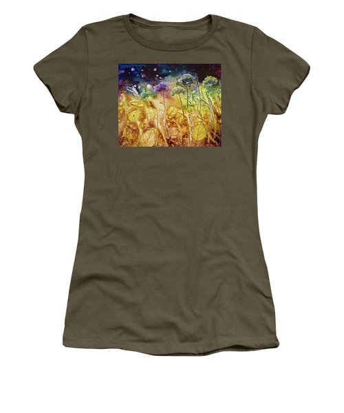 Midnight Flowers Women's T-Shirt (Athletic Fit)