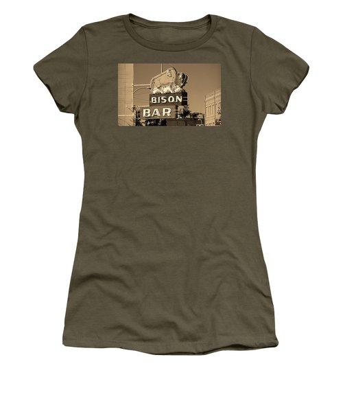 Miles City, Montana - Bison Bar Sepia Women's T-Shirt