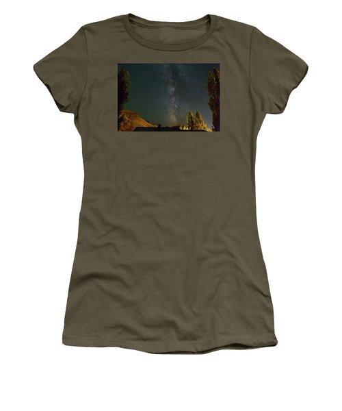 Milky Way Over Farmland In Central Oregon Women's T-Shirt (Athletic Fit)
