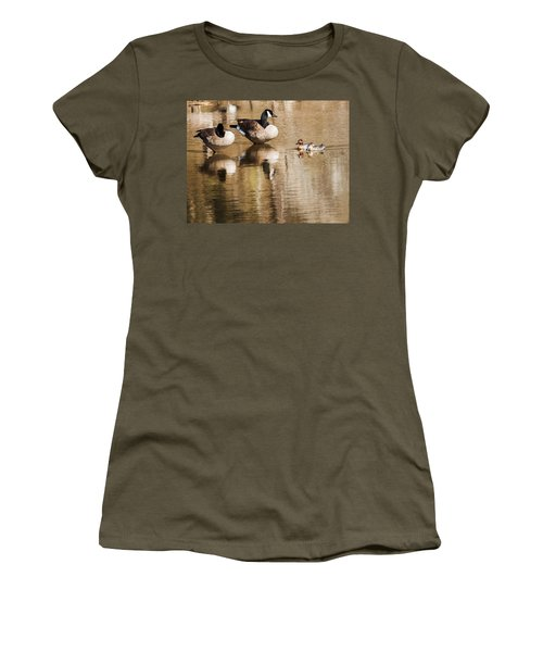 Women's T-Shirt (Junior Cut) featuring the photograph Millards And Green-wing Teal by Edward Peterson