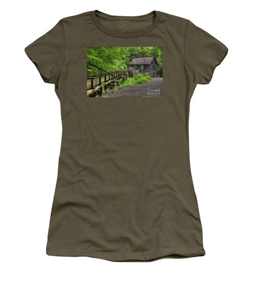 Women's T-Shirt (Junior Cut) featuring the photograph Mingus Mill 2 Mingus Creek Great Smoky Mountains Art by Reid Callaway