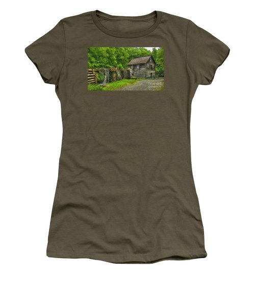 Women's T-Shirt (Junior Cut) featuring the photograph Mingus Mill 3 Mingus Creek Great Smoky Mountains Art by Reid Callaway