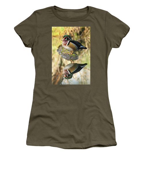 Mirrored Wood Duck Women's T-Shirt (Athletic Fit)
