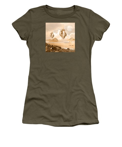 Women's T-Shirt (Junior Cut) featuring the digital art Mission In A Far Planet by Alexa Szlavics