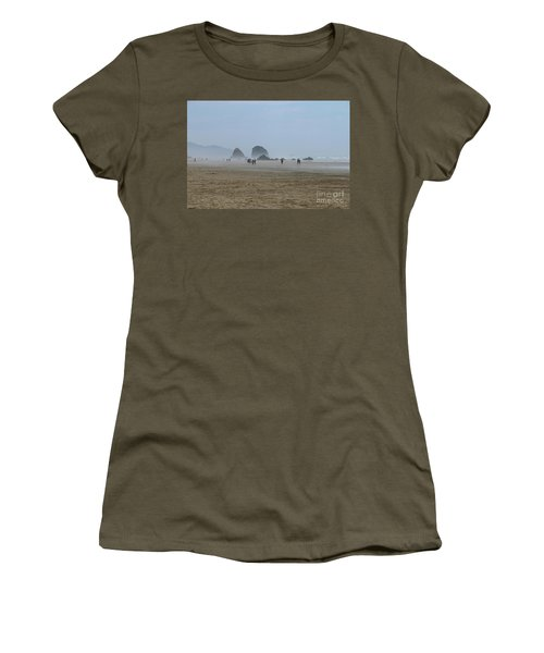 Misty Morning At Cannon Beach Women's T-Shirt (Athletic Fit)