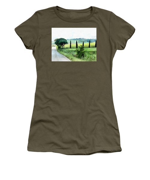 Misty Morning In Umbria Women's T-Shirt (Athletic Fit)
