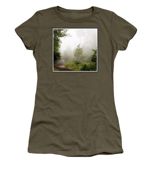 Misty Road At Forest Edge, Pocono Mountains, Pennsylvania Women's T-Shirt