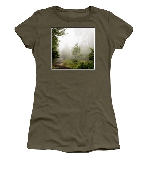 Misty Road At Forest Edge, Pocono Mountains, Pennsylvania Women's T-Shirt (Athletic Fit)