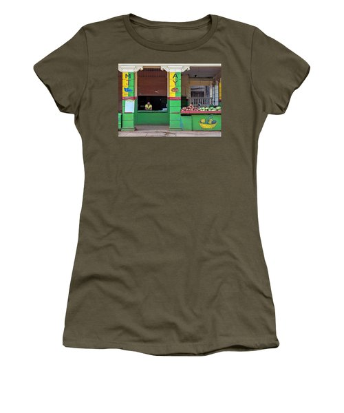 Women's T-Shirt (Athletic Fit) featuring the photograph Mjay Fruit Stand Havana Cuba by Charles Harden