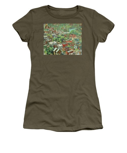 Women's T-Shirt (Junior Cut) featuring the painting Modern Cityscape Painting Featuring Downtown Richmond Virginia by Robert Joyner