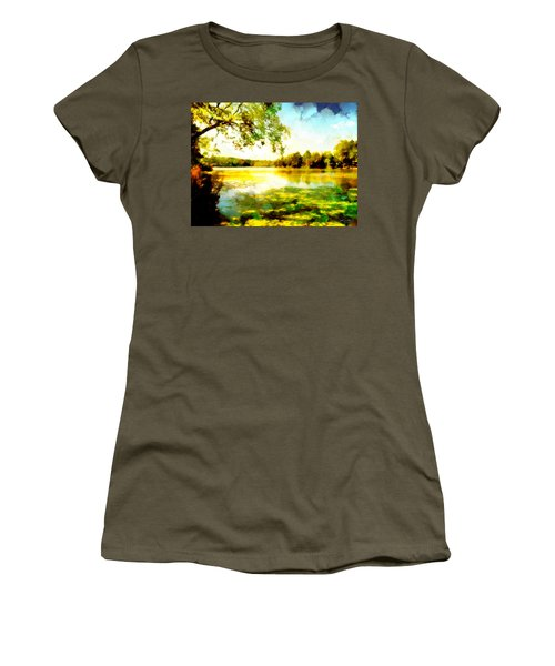 Women's T-Shirt (Athletic Fit) featuring the painting Mohegan Lake Hidden Oasis by Derek Gedney