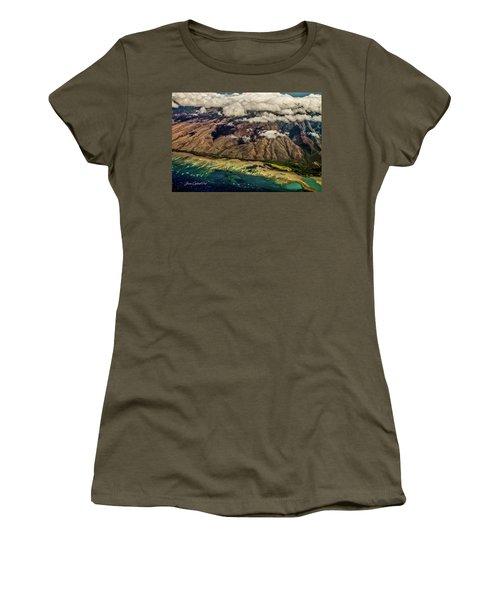 Women's T-Shirt (Junior Cut) featuring the photograph Molokai From The Sky by Joann Copeland-Paul