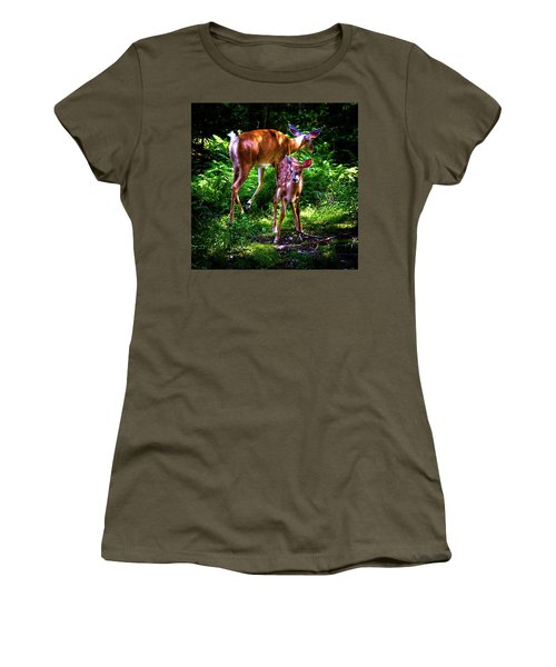 Women's T-Shirt (Athletic Fit) featuring the photograph Mom And Fawn by David Patterson