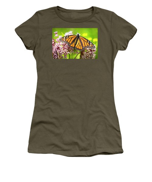 Women's T-Shirt (Athletic Fit) featuring the photograph Monarch Butterfly Closeup  by Ricky L Jones