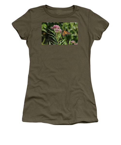 Women's T-Shirt (Junior Cut) featuring the photograph Monarch On Milkweed by Sandy Keeton