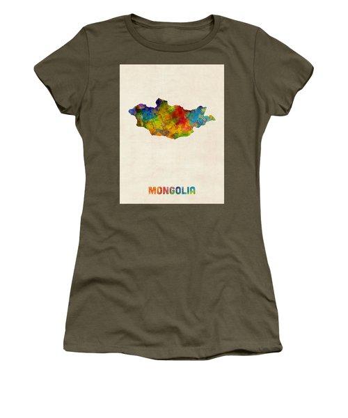 Women's T-Shirt (Junior Cut) featuring the digital art Mongolia Watercolor Map by Michael Tompsett