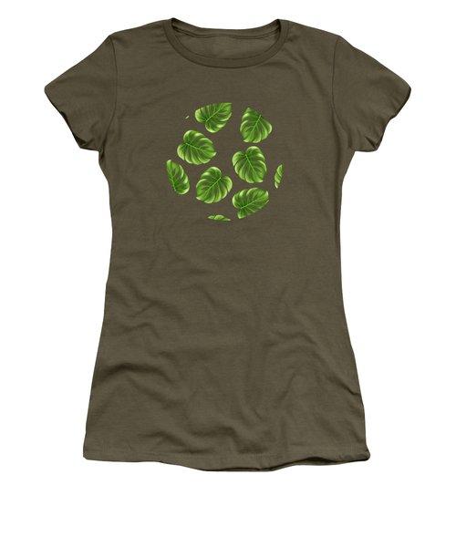 Monstera Leaves Greenery Tropical Aloha Bohemian Decor Women's T-Shirt (Athletic Fit)