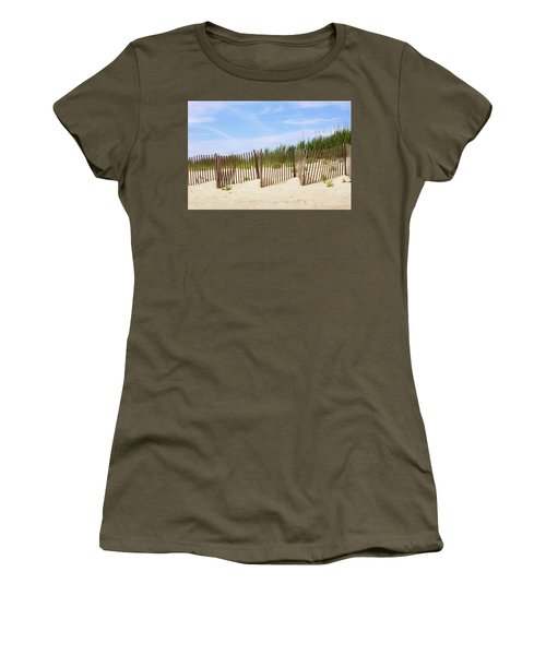 Women's T-Shirt (Junior Cut) featuring the photograph Montauk Sand Fence by Art Block Collections