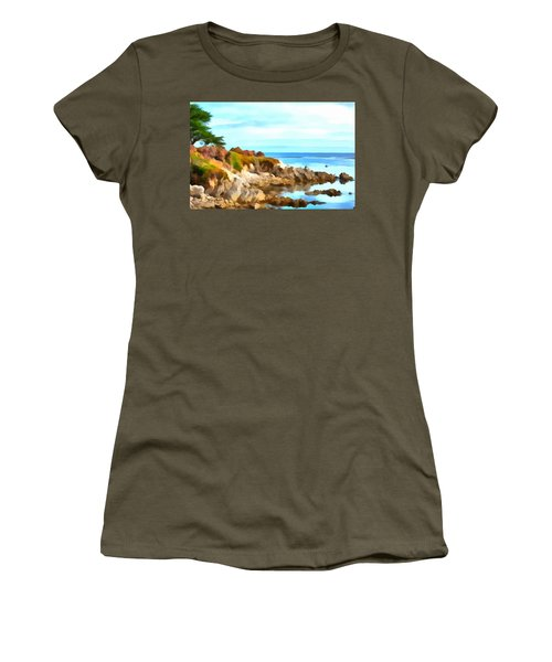 Women's T-Shirt (Junior Cut) featuring the photograph Monterey Coastline Watercolor by Floyd Snyder