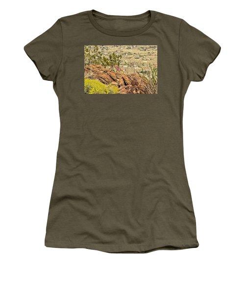 Montezuma Rd Cliff Side Flower Garden Women's T-Shirt (Junior Cut) by Daniel Hebard
