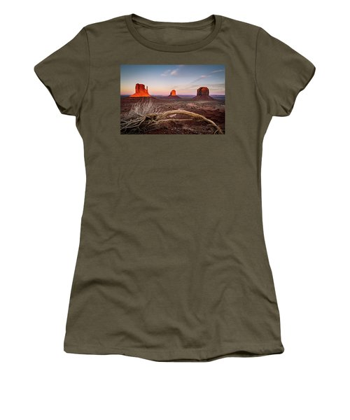 Women's T-Shirt featuring the photograph Monument Valley Sunset by Wesley Aston