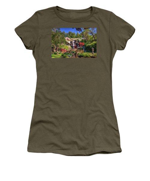 Moon Bridge And Maymont Falls Women's T-Shirt (Junior Cut) by Rick Berk