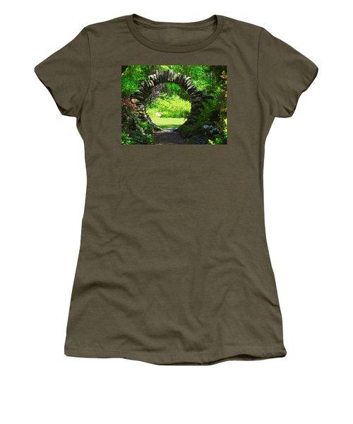 Moon Gate At Kinney Azalea Gardens Women's T-Shirt (Athletic Fit)
