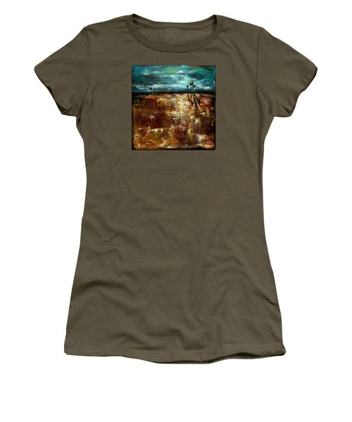 Women's T-Shirt (Junior Cut) featuring the painting Moonlight Over The Marsh by Linda Olsen