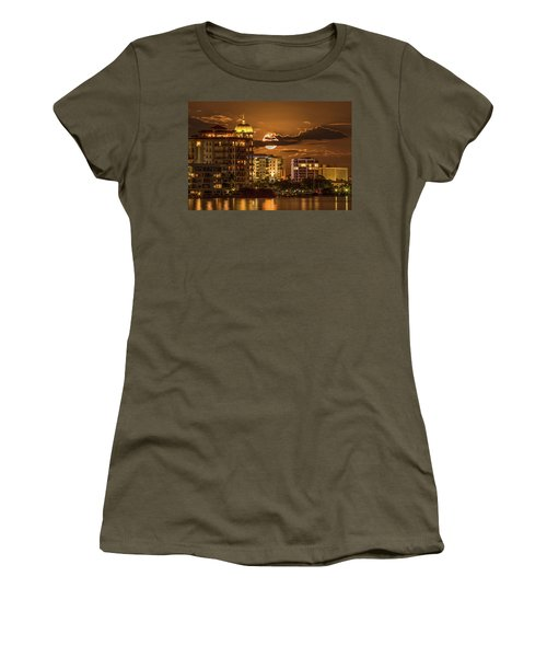 Women's T-Shirt featuring the photograph Moonrise Over Sarasota by Richard Goldman