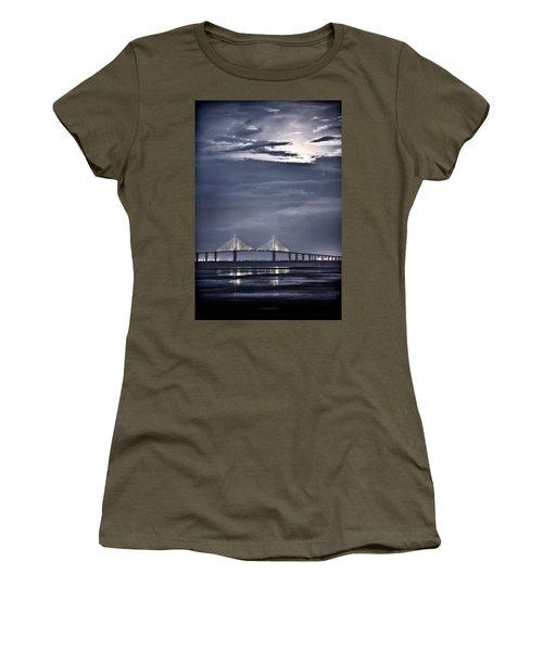 Moonrise Over Sunshine Skyway Bridge Women's T-Shirt (Athletic Fit)
