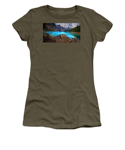 Women's T-Shirt (Junior Cut) featuring the photograph Moraine Lake by John Poon