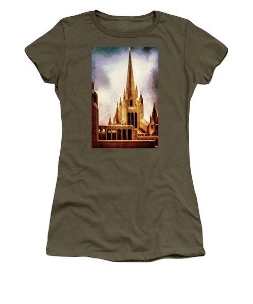 Mormon Temple Steeple Women's T-Shirt (Junior Cut) by Joseph Hollingsworth