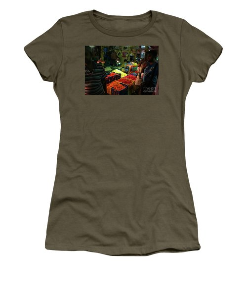 Women's T-Shirt (Junior Cut) featuring the photograph Morning Flower Market Colors by Mike Reid