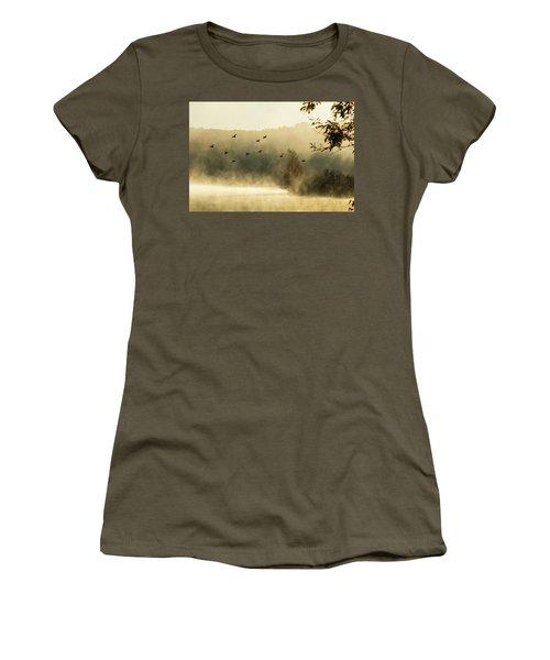 Morning Fog On Haley Pond In Rangeley Maine Women's T-Shirt