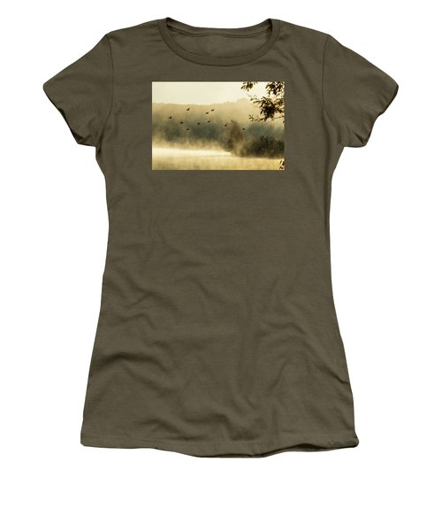 Women's T-Shirt featuring the photograph Morning Fog On Haley Pond In Rangeley Maine by Jeff Folger