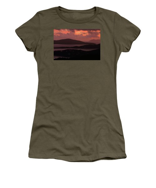 Women's T-Shirt (Junior Cut) featuring the photograph Morning Sunrise From St. Thomas In The U.s. Virgin Islands by Jetson Nguyen