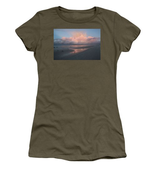 Women's T-Shirt (Athletic Fit) featuring the photograph Morning Walk On The Beach by Kim Hojnacki