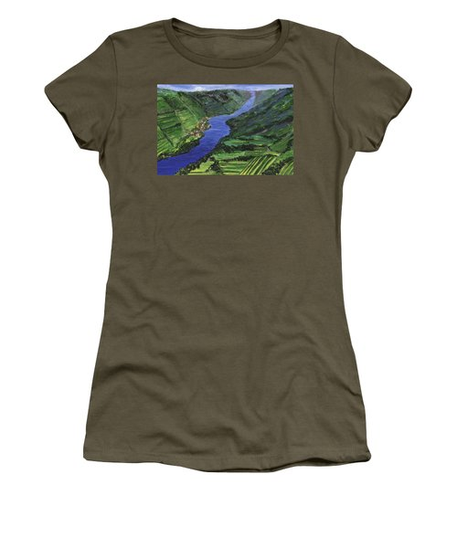 Women's T-Shirt (Athletic Fit) featuring the painting Moselle River by Jamie Frier