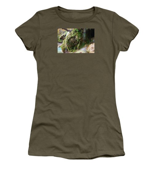 Women's T-Shirt (Junior Cut) featuring the photograph Moss And Waterfalls by Sheila Brown