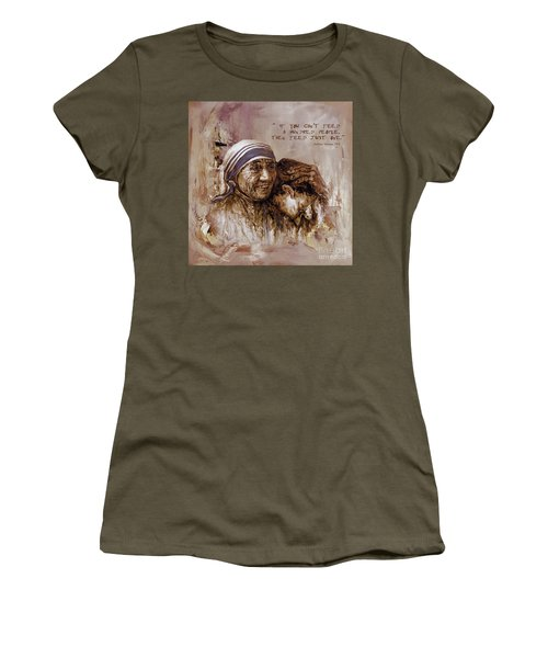 Women's T-Shirt (Junior Cut) featuring the painting Mother Teresa Of Calcutta  by Gull G
