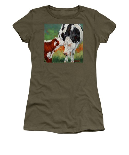 Women's T-Shirt (Junior Cut) featuring the painting Mothers Little Helper by Margaret Stockdale