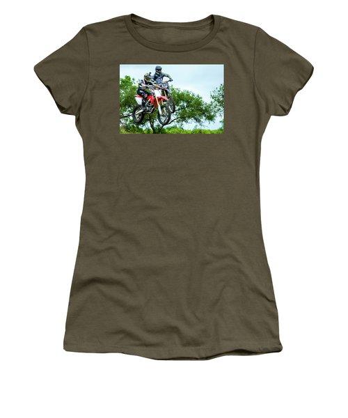 Women's T-Shirt (Junior Cut) featuring the photograph Motocross Battle by David Morefield