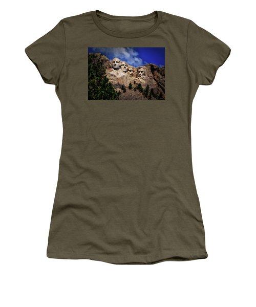 Mount Rushmore 008 Women's T-Shirt (Junior Cut) by George Bostian