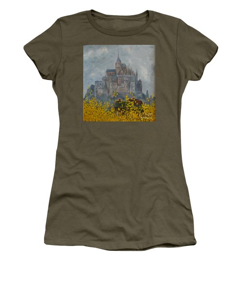 Women's T-Shirt (Athletic Fit) featuring the painting Mount Saint Michael by Rod Ismay