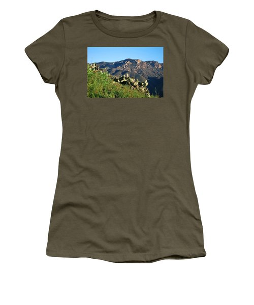 Women's T-Shirt (Athletic Fit) featuring the photograph Mountain Cactus View - Santa Monica Mountains by Matt Harang
