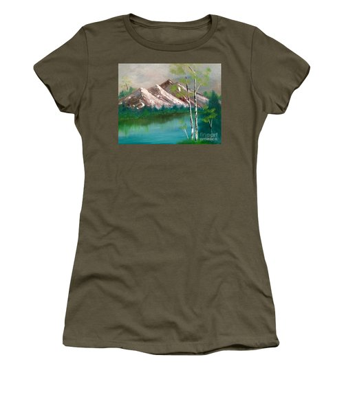 Women's T-Shirt (Athletic Fit) featuring the painting Mountain Lake by Denise Tomasura